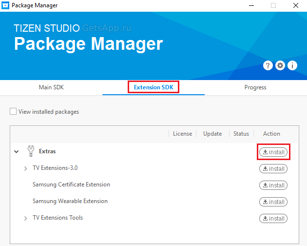 Package Manager Tizen Studio Extra