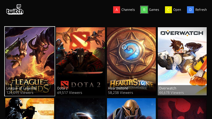 twitch tizen tv выбор игры